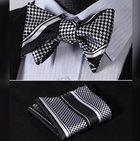 ✨Silk Bow Tie Set - Black and White Checkered