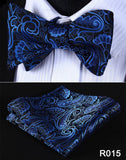 Men's Coordinated Silk Bow Tie Set - Blue Black Paisley