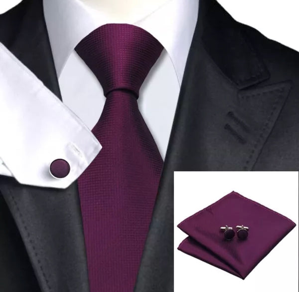 Men's Coordinated Silk Tie Set - Solid Grape