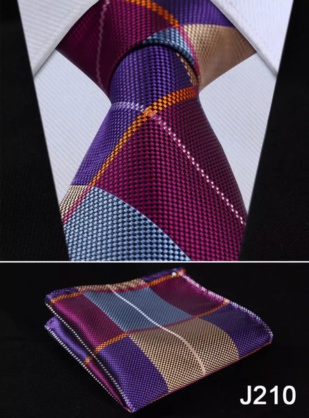Men's Coordinated Tie Set - Purple Blue Beige Squared