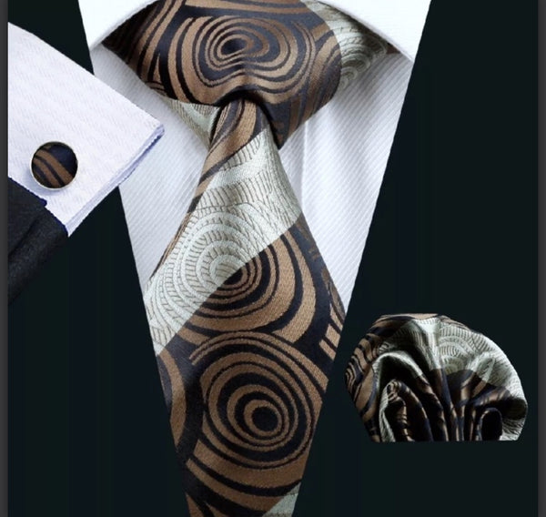 Men's Silk Coordinated Tie Set - Brown & Black Swirl