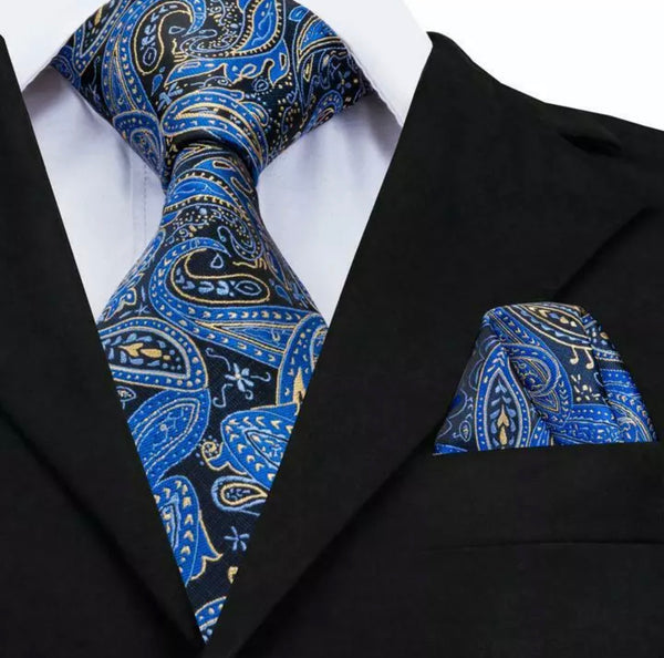 EXTRA LONG Men's Silk Coordinated Tie Set - Black and Blue Paisley
