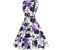 Vintage Inspired Cocktail Dress - Purple White Floral, Sizes Small - 2XLarge