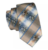 Men's Coordinated Silk Tie Set - Brown Beige Blue Floral Stripe