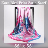 "✨Satin Bird Print Wrap / Shawl, 35"" x 35"""