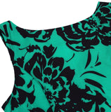 Vintage Inspired Boatneck Floral Dress, Sizes Small - 2XLarge
