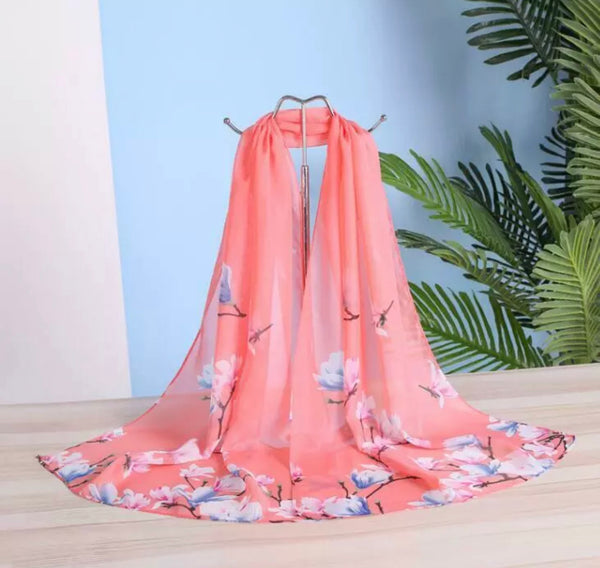 Lovely Floral Chiffon Scarf - Floral Pink