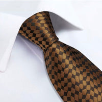 Coordinated Men's Silk Tie Set - Brown Checks