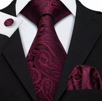 Men's Coordinated Silk Tie Set - Red Wine Paisley