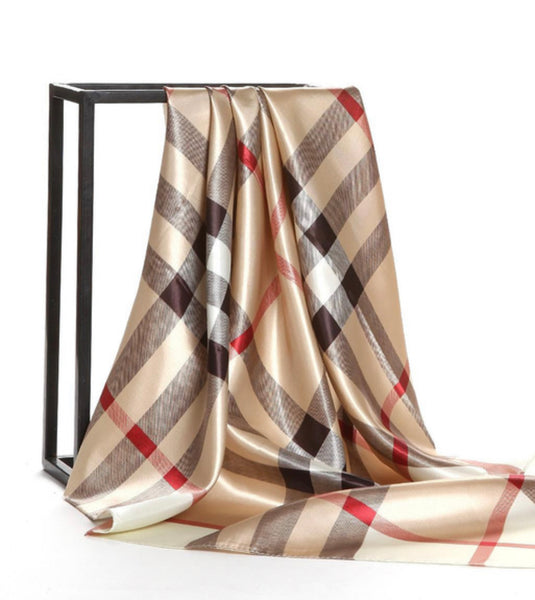Beautiful Brand New Plaid Print Silk Shawl / Scarf