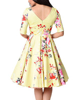 Women Vintage Inspired Floral Print Pleated Swing Dress, Sizes S-XXL (US 4 - 20W)