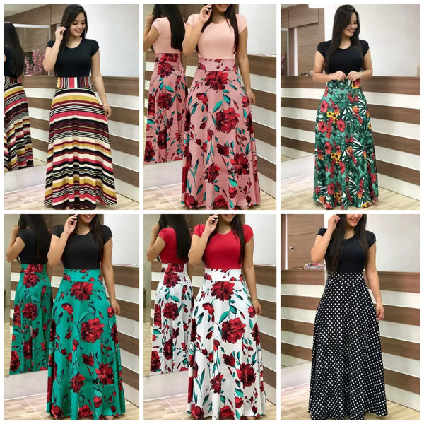 Long Floral Maxi Dress, Sizes Small - 5XLarge