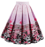 A-Line Printed Pleated Flared Midi Skirts, Beauty Butterfly, Sizes Small - 3XLarge