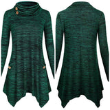 Cowl Neck Asymmetric Hem Tunic Top, US 6 - 18, Dark Green