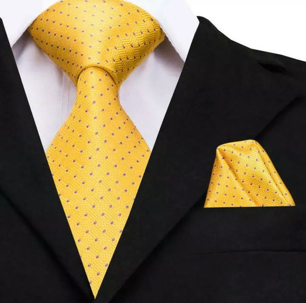 EXTRA LONG Men's Silk Coordinated Tie Set - Yellow with Purple Polka Dots