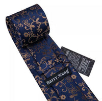 Men's Silk Coordinated Tie Set - Navy Blue & Brown Floral
