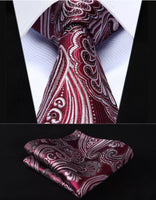 Men's Silk Coordinated Tie Set - Burgundy Gray Paisley