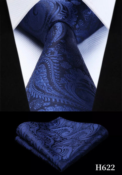 Men's Silk Coordinated Tie Set - Solid Blue Paisley