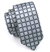 ✨Men's Coordinated Silk Tie Set - Silver & Black Squared