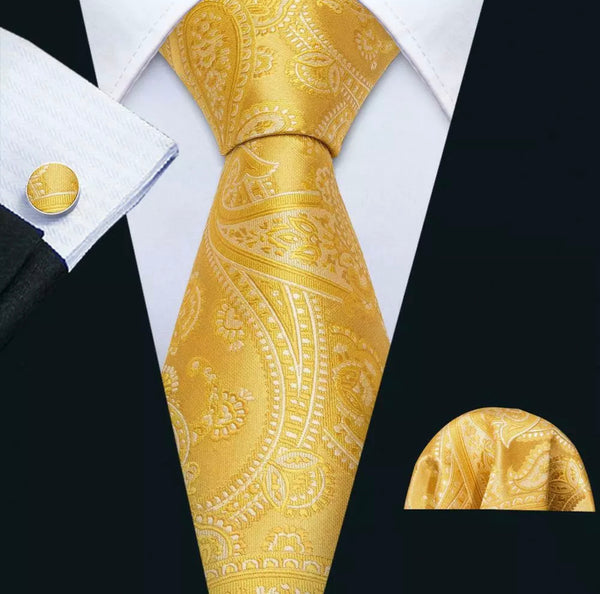 Men's Coordinated Silk Tie Set -  Yellow Gold Paisley