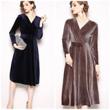 Retro 90s Faux Wrap Empire Long Sleeve Dress, Sizes Small - 2XLarge (US 0 - 12)