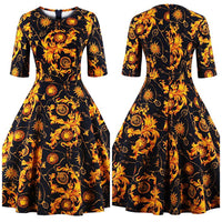 Rounded Neck Floral Swing Dress, Sizes Small - 4XLarge