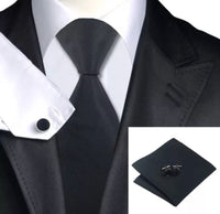 Men's Silk Coordinated Tie Set - Solid Black