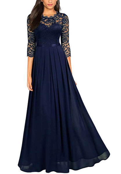 Long Lace Navy Blue Patterned Dress, Sizes Small - 2XLarge (US Sizes 4 - 18)