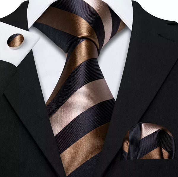 Men's Coordinated Silk Tie Set - Black Brown Striped