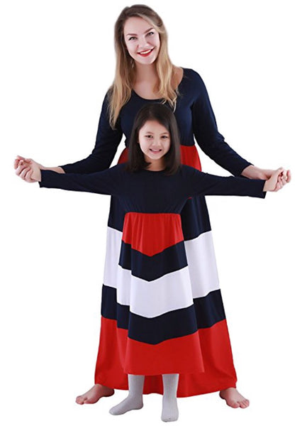 Mommy & Me Long Sleeve Striped Dress, Mommy S - 3XL, Child 1 - 8