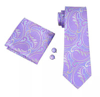 Men's Coordinated Silk Tie Set - Lavender Floral