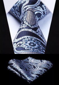 Coordinated Tie Set / Blue White Paisley