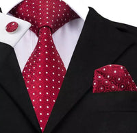 Men's Silk Tie Set - Red with White Polka Dots