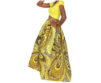 Women's African Print Stretch Elastic High Waist Skirt - Yellow Print, Sizes Small - 2XLarge
