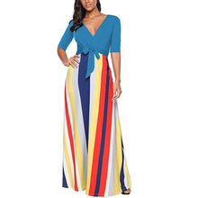 Striped V-Neck Maxi Dress, Sizes Small - 2XLarge