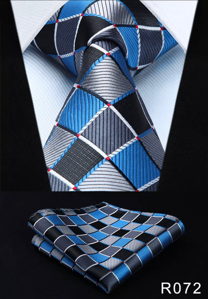Men's Silk Coordinated Tie Set - Blue Silver Black Squared