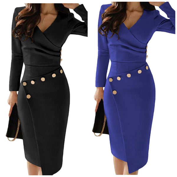 V-Neck BodyCon Dress, Sizes Small - 2XLarge