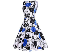 Vintage Inspired Cocktail Dress - Blue White Floral, Sizes Small - 2 XLarge