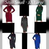 Women's Tie Neck Peplum Waist Long Sleeve Dress, Sizes S - 2XL