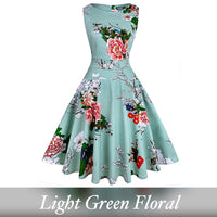 Vintage Inspired Cocktail Dress, Light Green Floral
