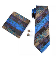 Men's Silk Coordinated Tie Set - Purple, Beige, Blue Paisley Stripe