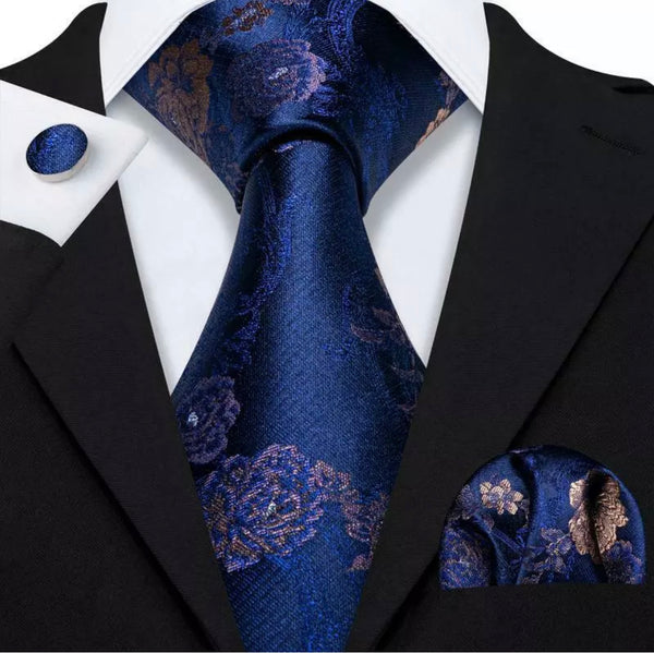 Men's Coordinated Silk Tie Set - Blue with Gold Floral