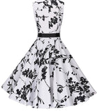 Audrey Hepburn Inspired Swing Dress, US Sizes 0 - 18W, White with Black Florals