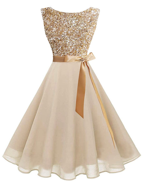 Boatneck Sleeveless Retro Inspired Dress, Sizes XSmall - 3XLarge (US Size 0 - 18W) Champagne Sequin