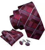 Men's Coordinated Silk Tie Set - Red Burgundy Plaid