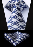 Men's Silk Coordinated Tie Set - White Blue Striped