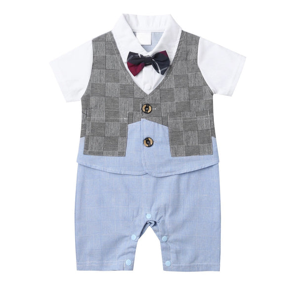 Short Sleeve Rompers with Bow Tie, Sizes 0 - 24 Months