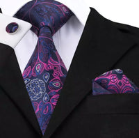Men's Silk Coordinated Tie Set - Purple Peacock