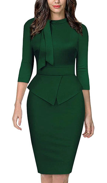 Vintage Inspired Peplum Dress (Sizes Small - 2XLarge) Green