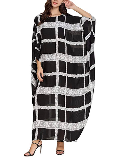 Women's Caftan Oversized Loungewear, Black White Plaid